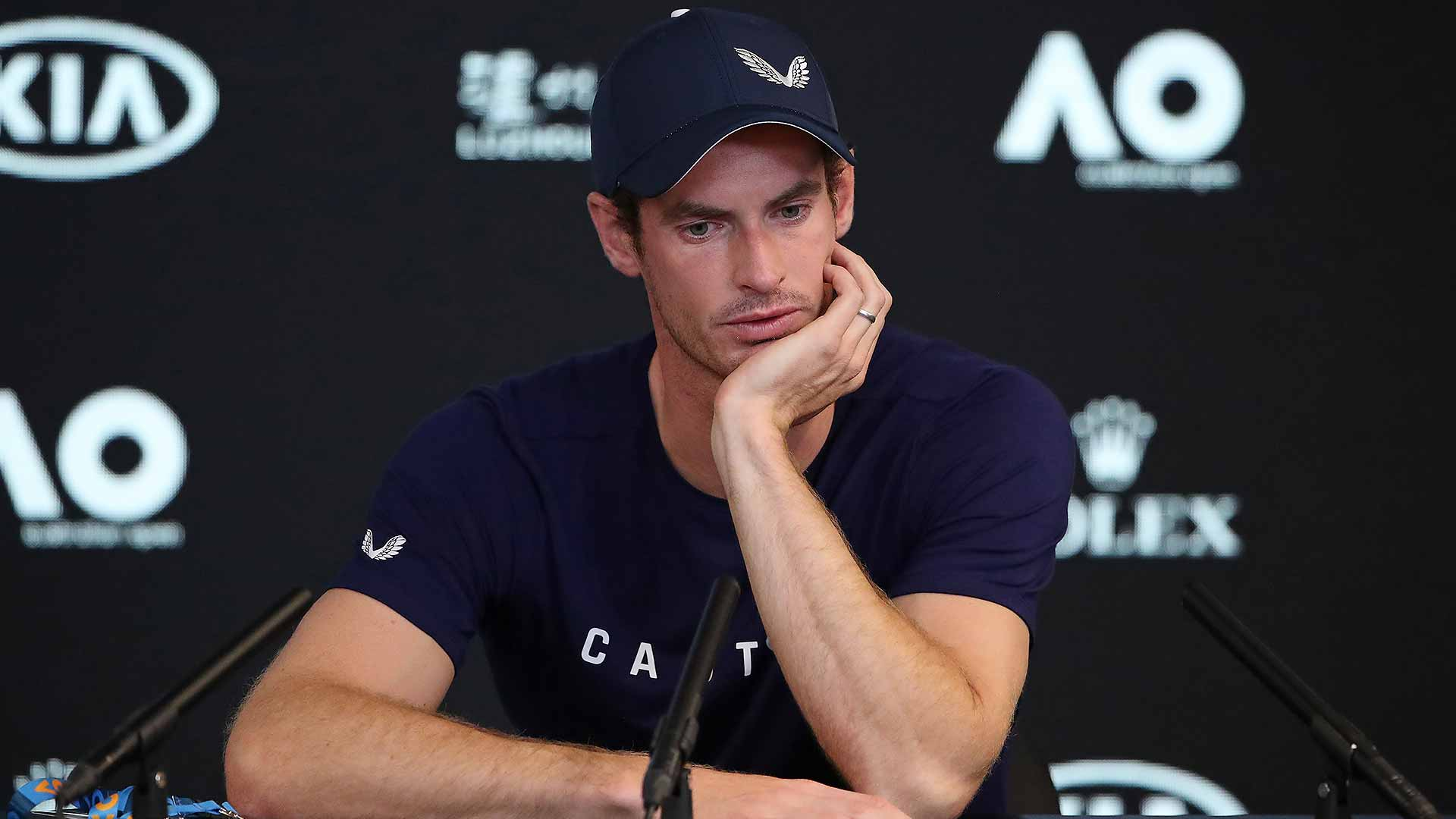 Andy Murray during his press conference in Melbourne