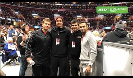(L-R) Stefan Kozlov, Ulises Blanch, Marcos Giron and Noah Rubin attend a Cavaliers NBA game during the Cleveland Challenger.
