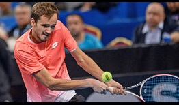 Daniil Medvedev wins 74 per cent of second-serve return points to defeat Gael Monfils in the Sofia semi-finals on Saturday.