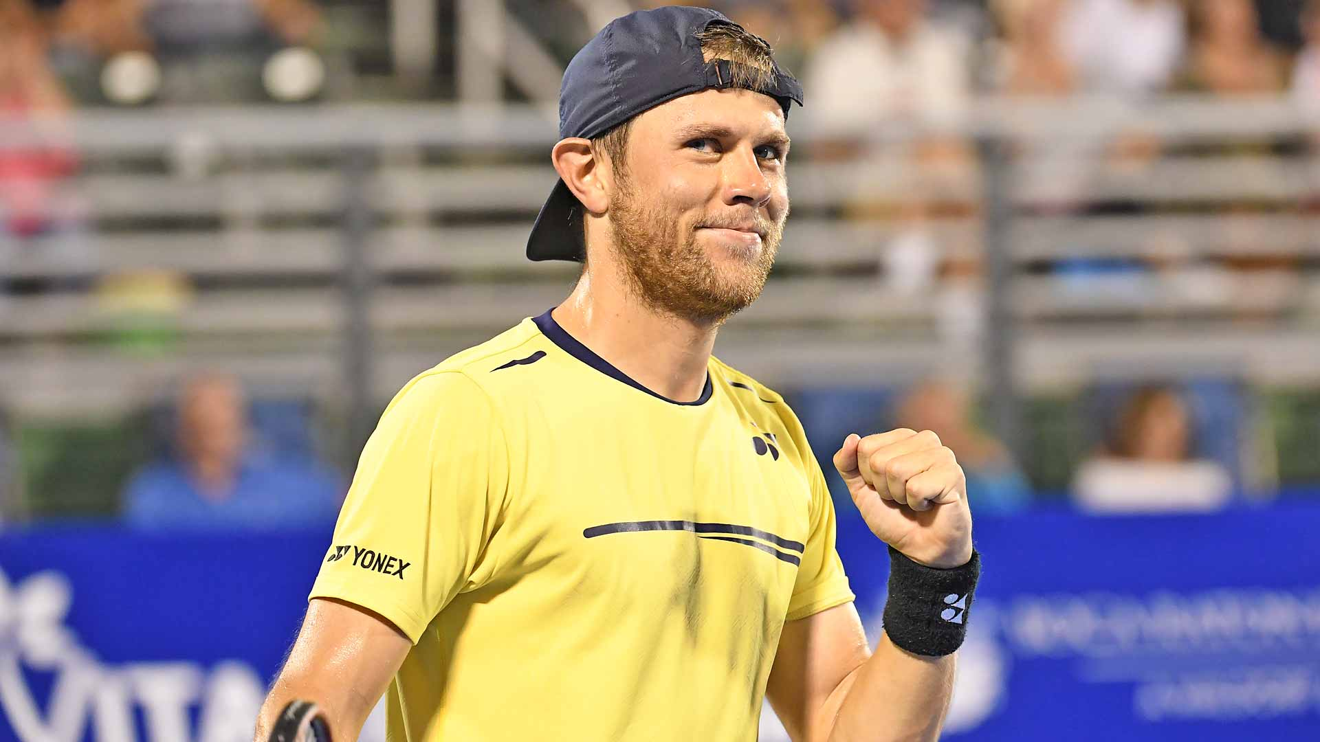 <a href='https://www.atptour.com/en/players/radu-albot/a829/overview'>Radu Albot</a> celebrates his victory against <a href='https://www.atptour.com/en/players/mackenzie-mcdonald/mk66/overview'>Mackenzie McDonald</a> in the Delray Beach semi-finals.