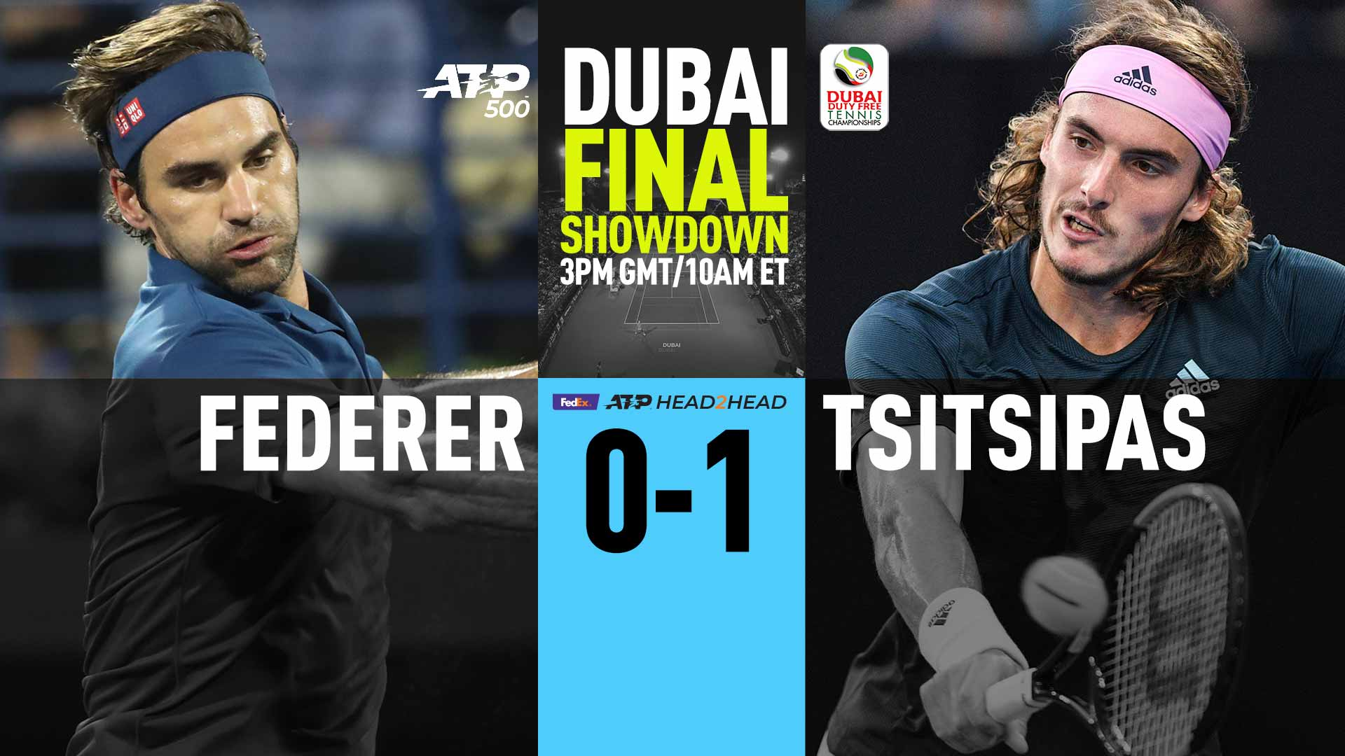 Roger Federer faces Stefanos Tsitsipas on Saturday in the final of the Dubai Duty Free Tennis Championships.