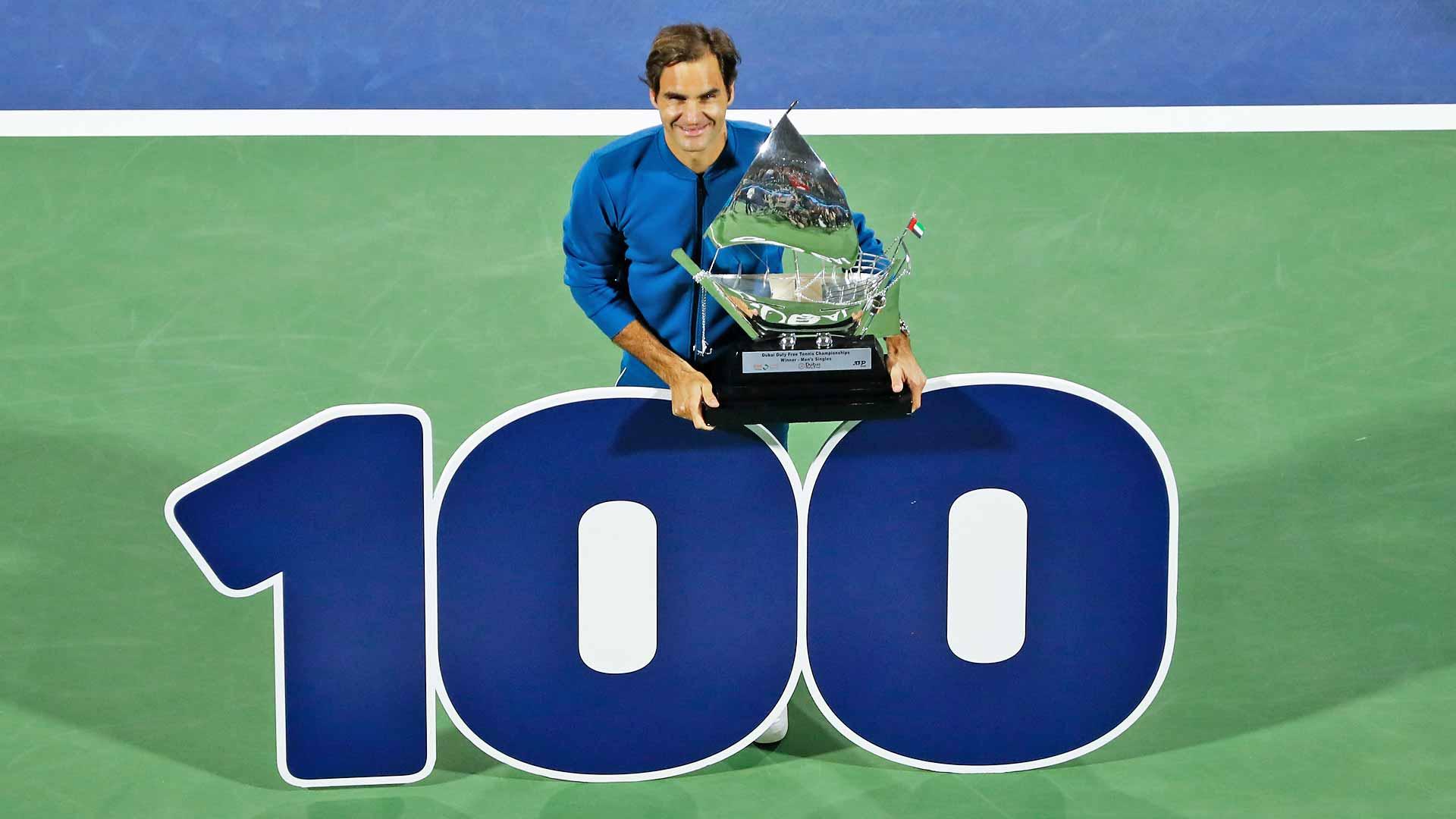 <a href='https://www.atptour.com/en/players/roger-federer/f324/overview'>Roger Federer</a> celebrates his 100th title after triumphing in Dubai