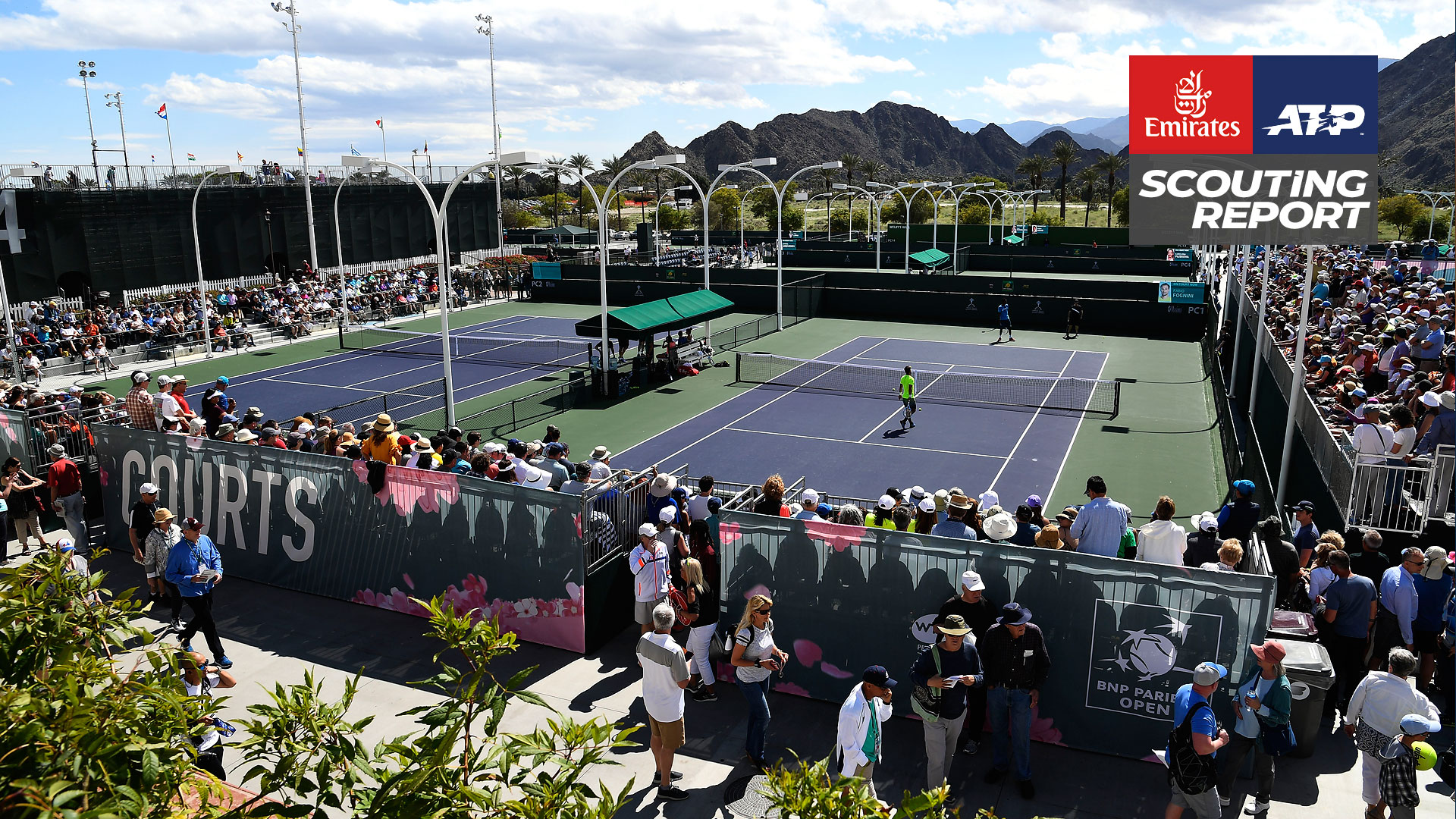 A view of practice courts at the Indian Wells Tennis Garden, venue of the BNP Paribas Open.