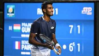 Prajnesh Gunneswaran, India's No. 1 player, wins his first ATP Masters 1000 main draw match at the BNP Paribas Open in Indian Wells.