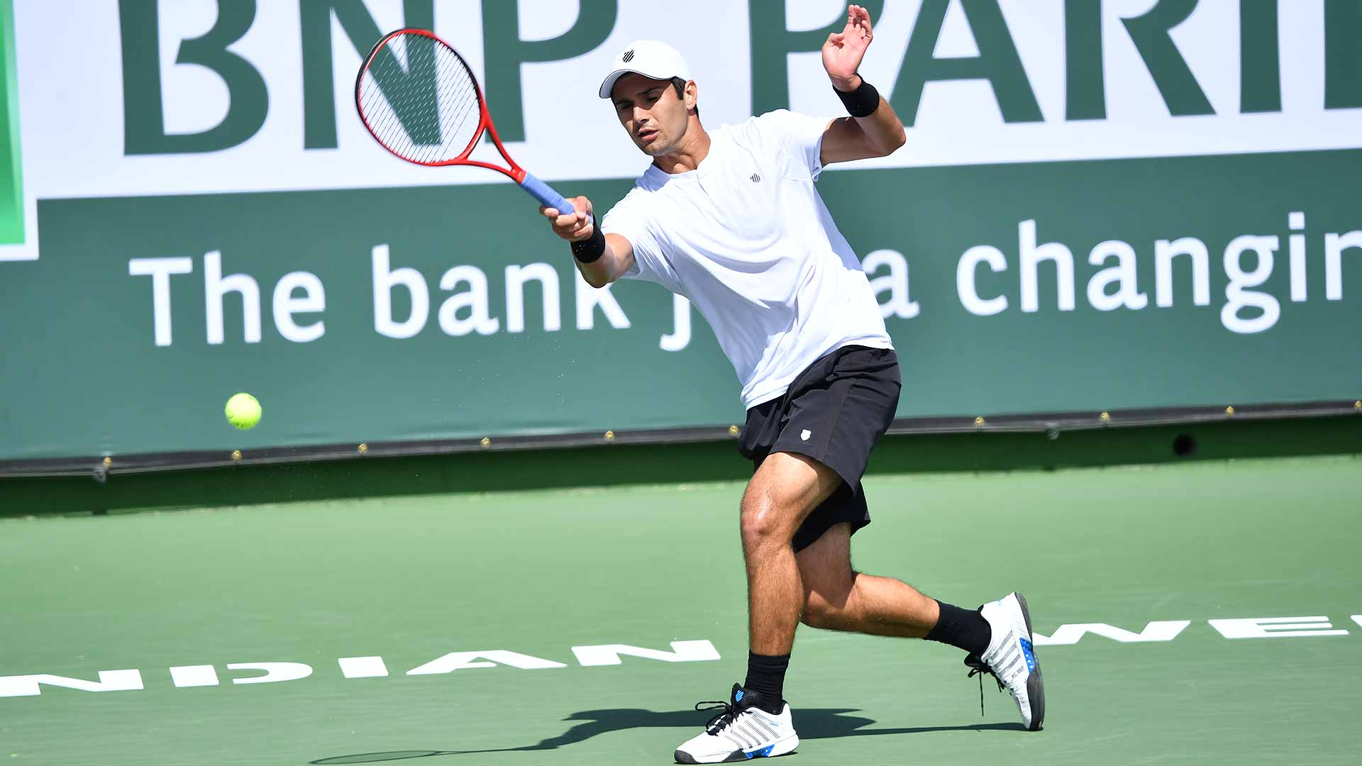 <a href='https://www.atptour.com/en/players/marcos-giron/gc88/overview'>Marcos Giron</a> will face <a href='https://www.atptour.com/en/players/milos-raonic/r975/overview'>Milos Raonic</a> at the <a href='https://www.atptour.com/en/tournaments/indian-wells/404/overview'>BNP Paribas Open</a> in Indian Wells