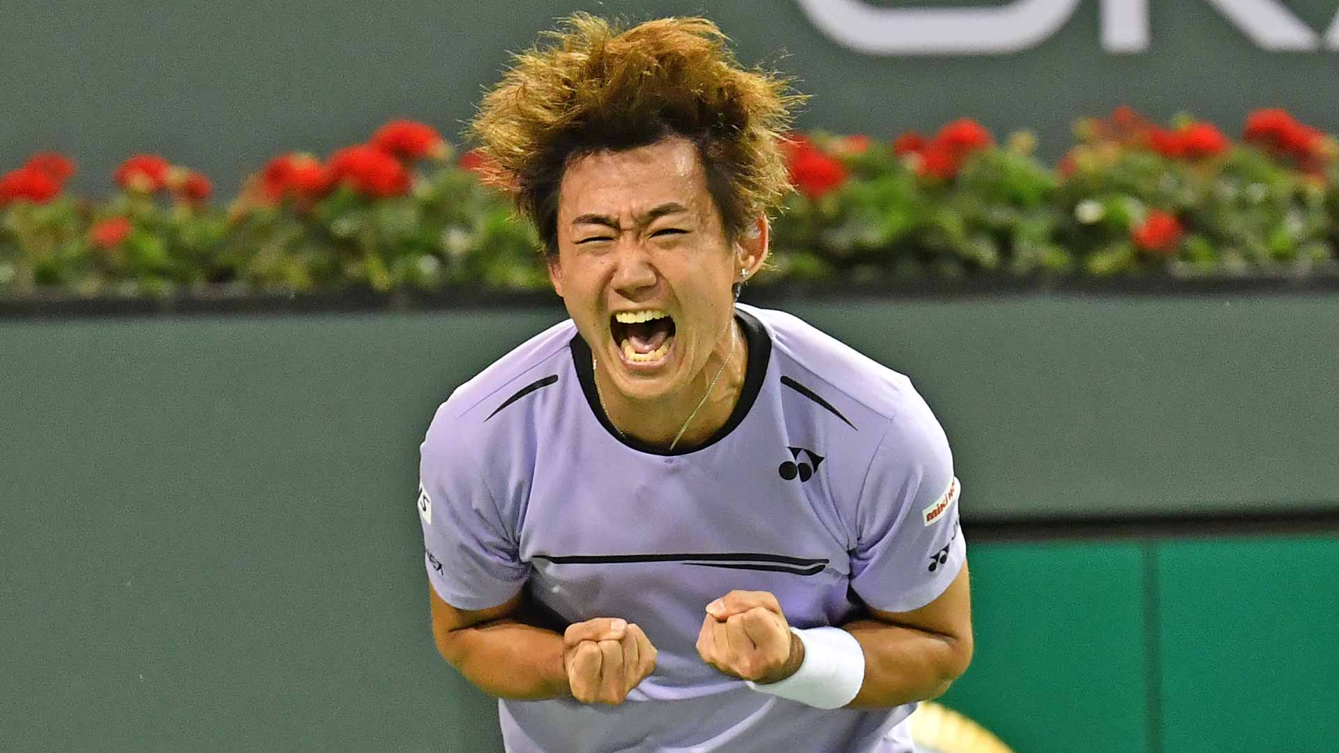 Yoshihito Nishioka celebrates his third-round win at the 2019 BNP Paribas Open.