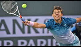 Dominic Thiem wins 50 per cent of his second-serve return points against Ivo Karlovic to reach the quarter-finals in Indian Wells.
