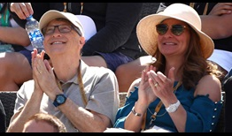 Bill and Melinda Gates have fun watching Roger Federer advance on Friday in Indian Wells.