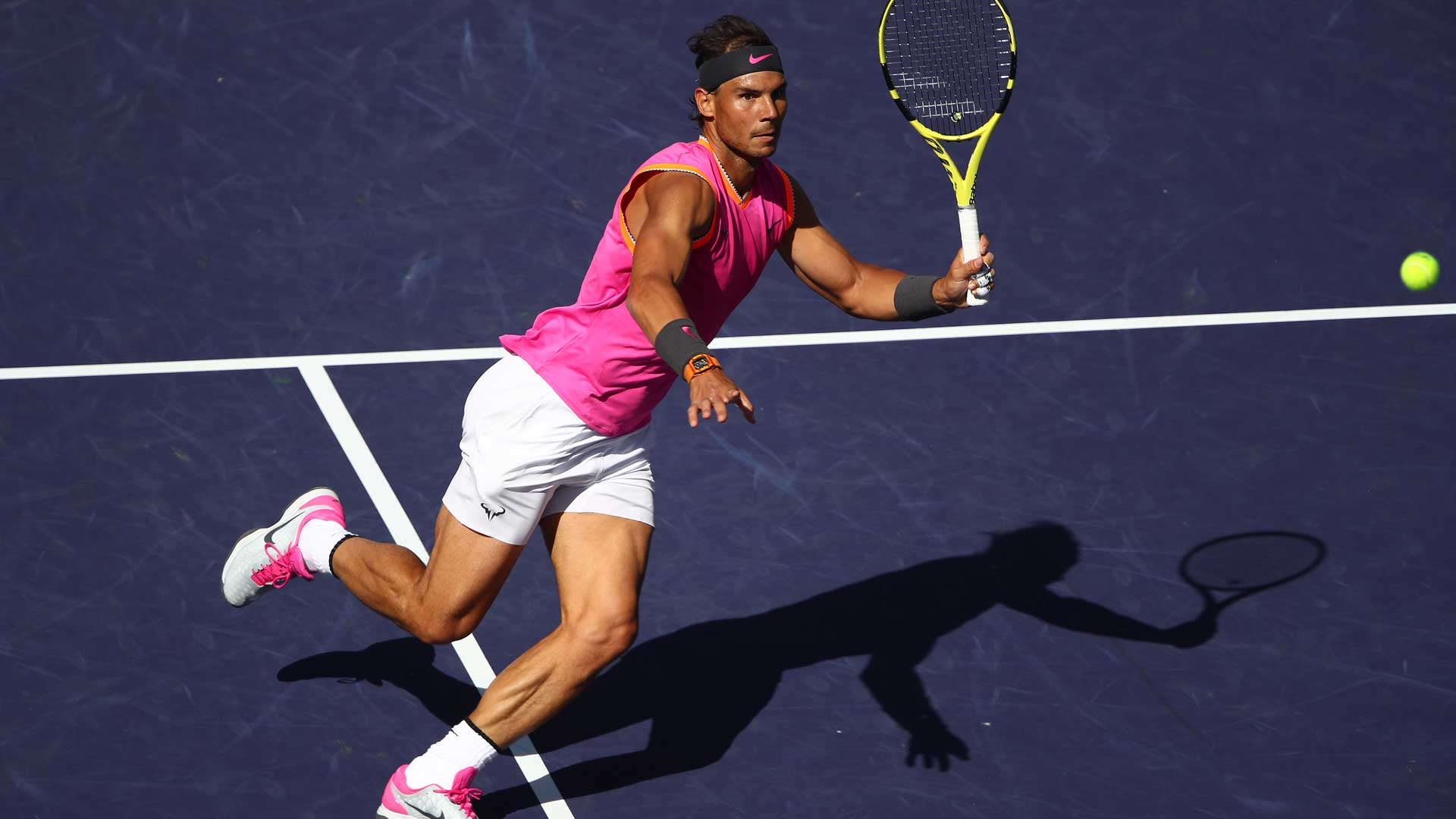 <a href='https://www.atptour.com/en/players/rafael-nadal/n409/overview'>Rafael Nadal</a> hits a volley in his Indian Wells quarter-final against <a href='https://www.atptour.com/en/players/karen-khachanov/ke29/overview'>Karen Khachanov</a>.