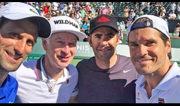 Novak Djokovic, John McEnroe, Pete Sampras and Tommy Haas competed in a doubles exhibition after Saturday's singles semi-final.