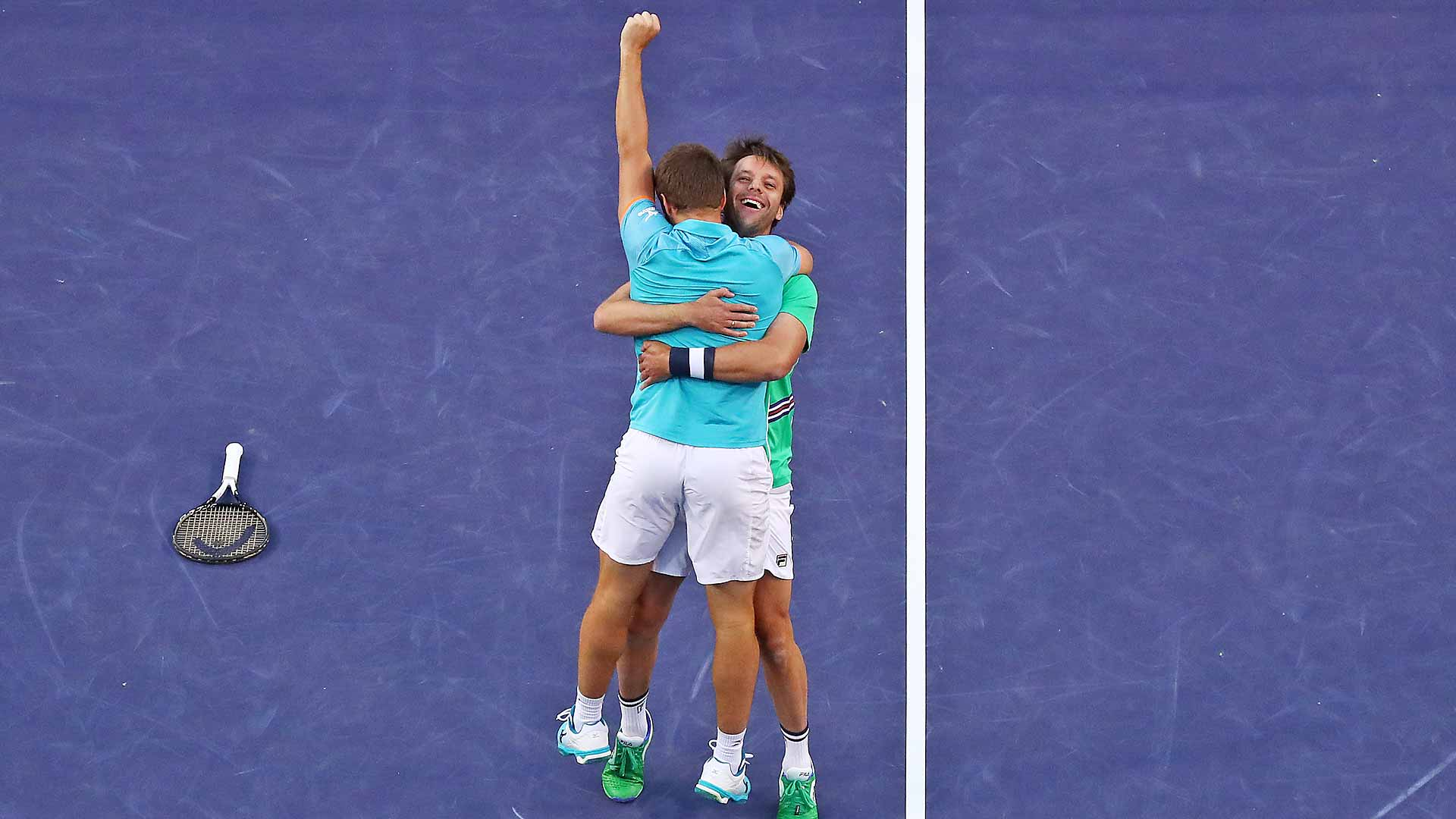 Nikola Mektic and Horacio Zeballos celebrate winning the BNP Paribas Open