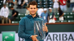 Dominic Thiem holds his trophy at the 2019 BNP Paribas Open.