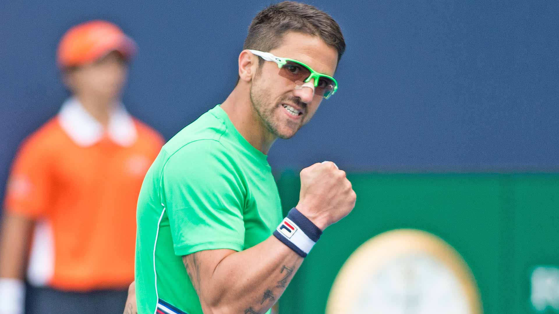 Janko Tipsarevic celebrates his first-round win in Miami