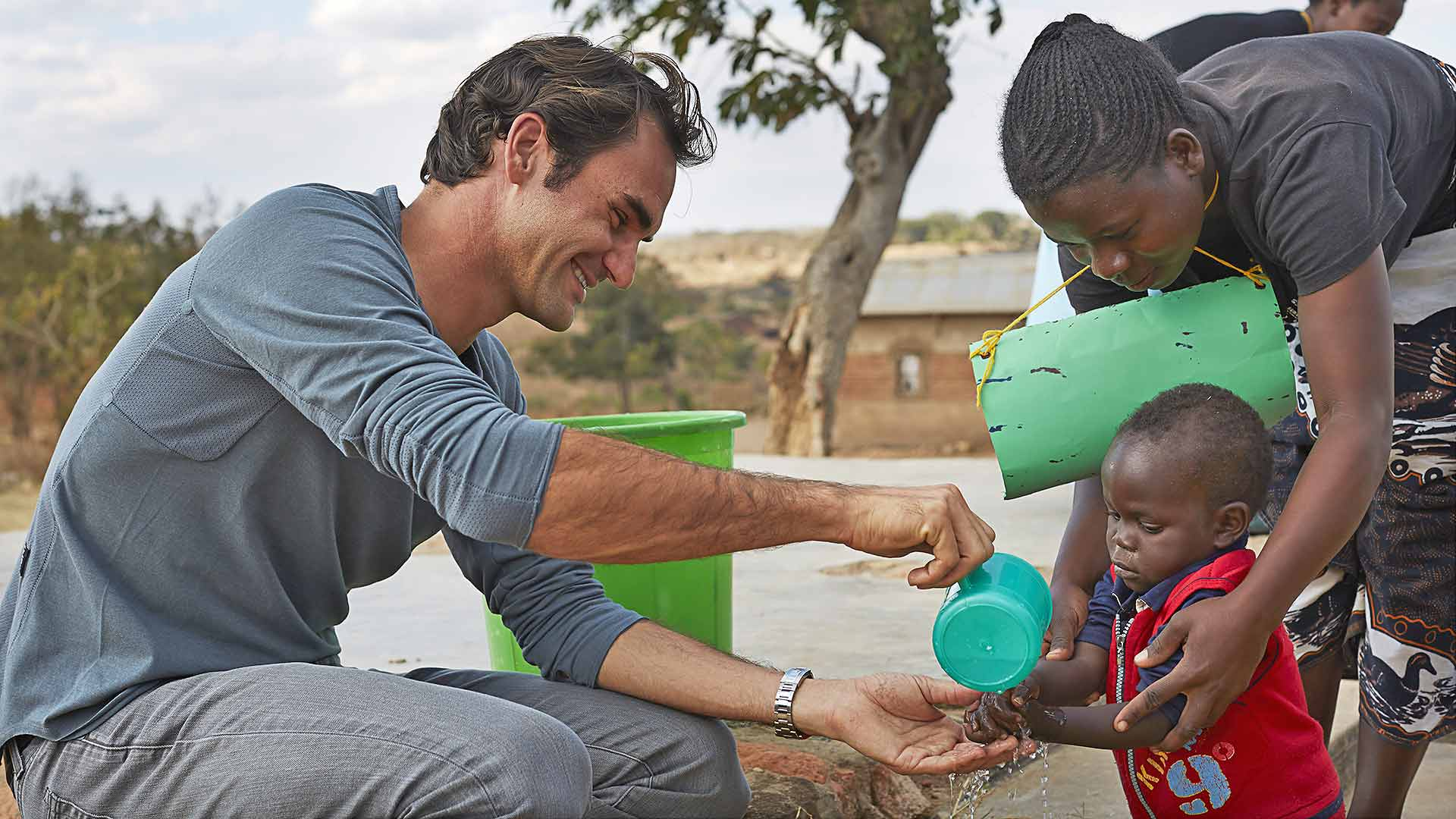 Roger Federer during a visit to Malawi