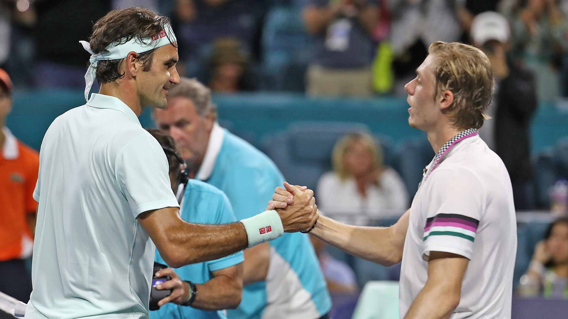 Federer shakes hands with Shapovalov after their Miami semi-final