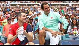 John Isner falls to 2-6 in his FedEx ATP Head2Head series with Roger Federer, who is now a four-time Miami champion.