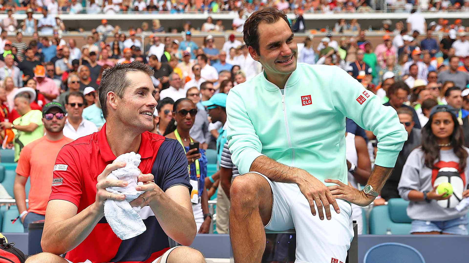 John Isner and Roger Federer after the 2019 Miami final