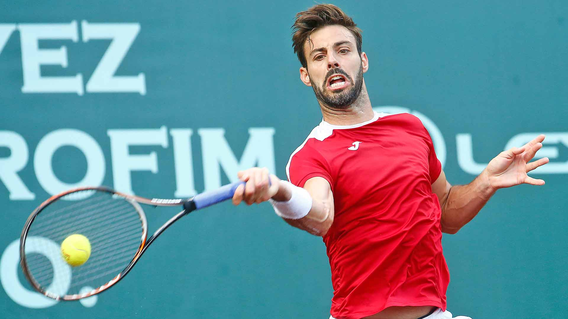 Marcel Granollers hits a forehand in Houston