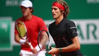 Alexander and Mischa Zverev compete in Monte-Carlo in 2018.