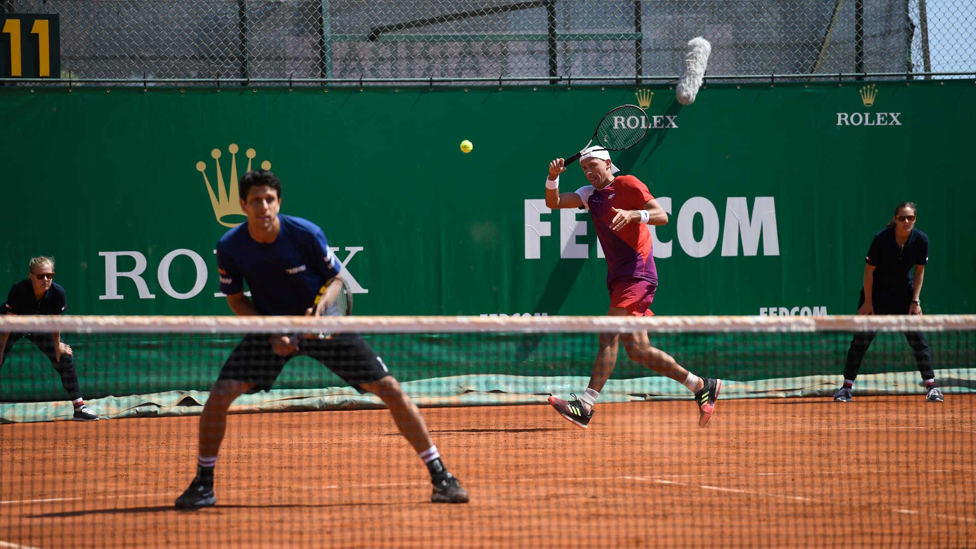 Marcelo Melo and Lukasz Kubot compete at the 2019 Rolex Monte-Carlo Masters.