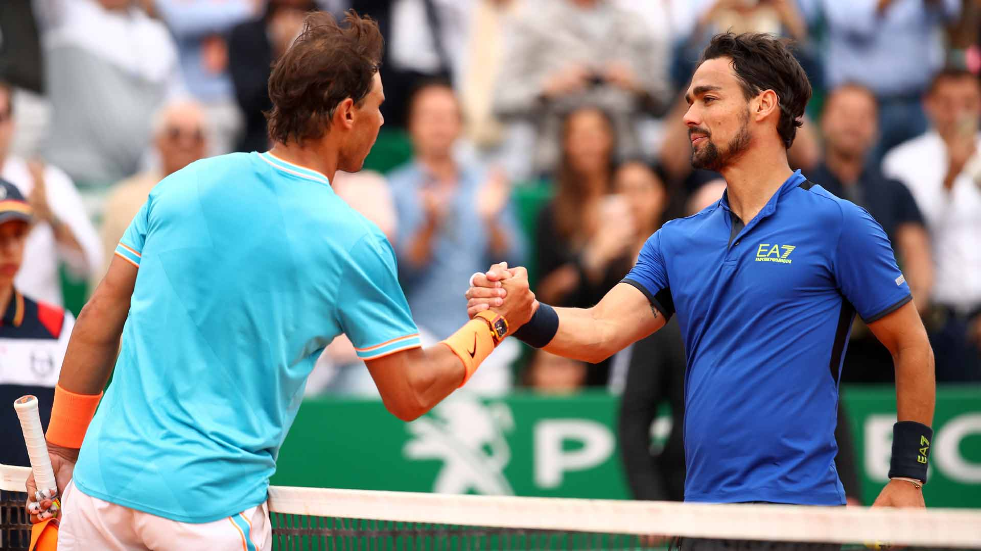 Rafael Nadal and Fabio Fognini shake hands after their Monte-Carlo match.