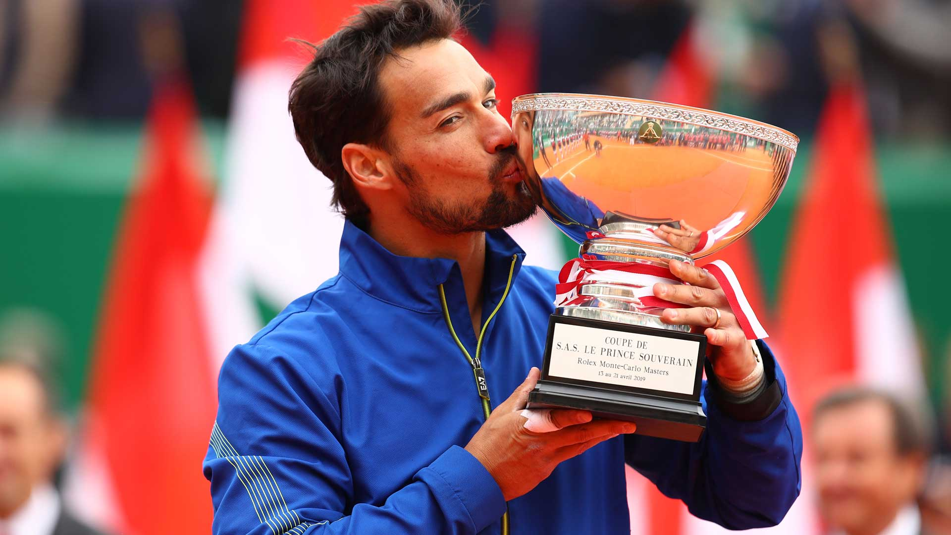 Fabio Fognini holds the 2019 Rolex Monte-Carlo Masters trophy