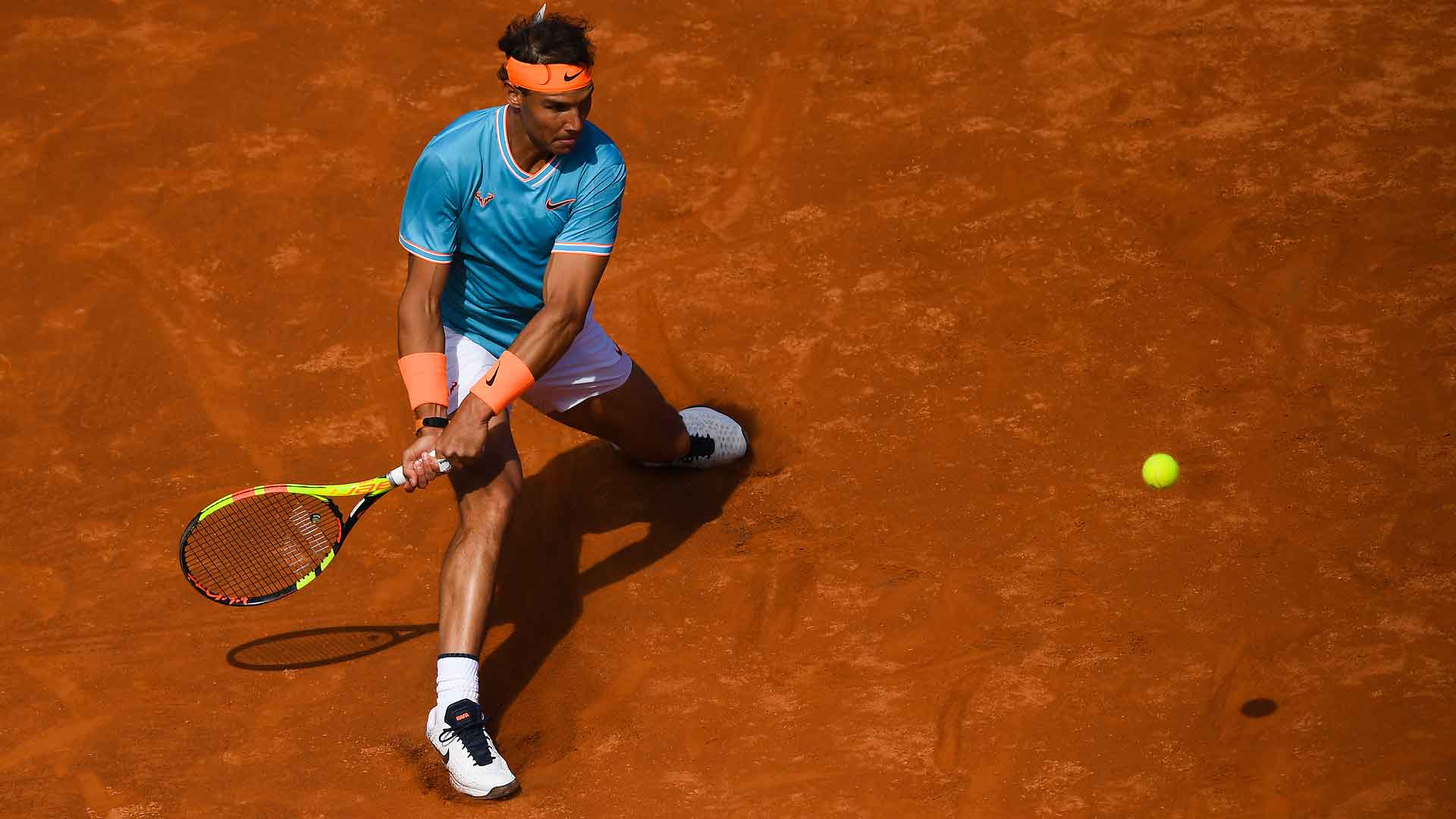 Nadal strikes a backhand in Barcelona