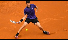Third seed Dominic Thiem stepped up his playing level late in the first set against Jaume Munar on Thursday in Barcelona.