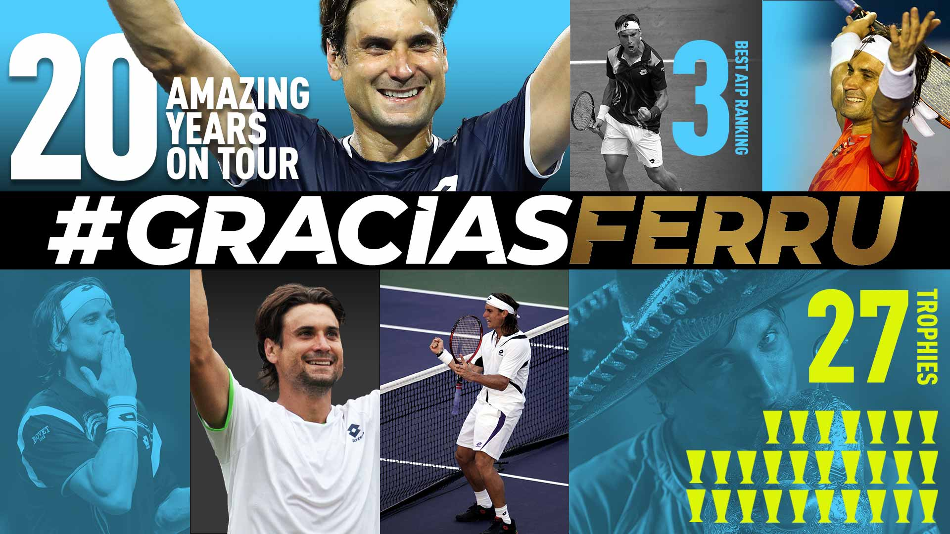 David Ferrer won 27 titles during 20 years on the ATP Tour