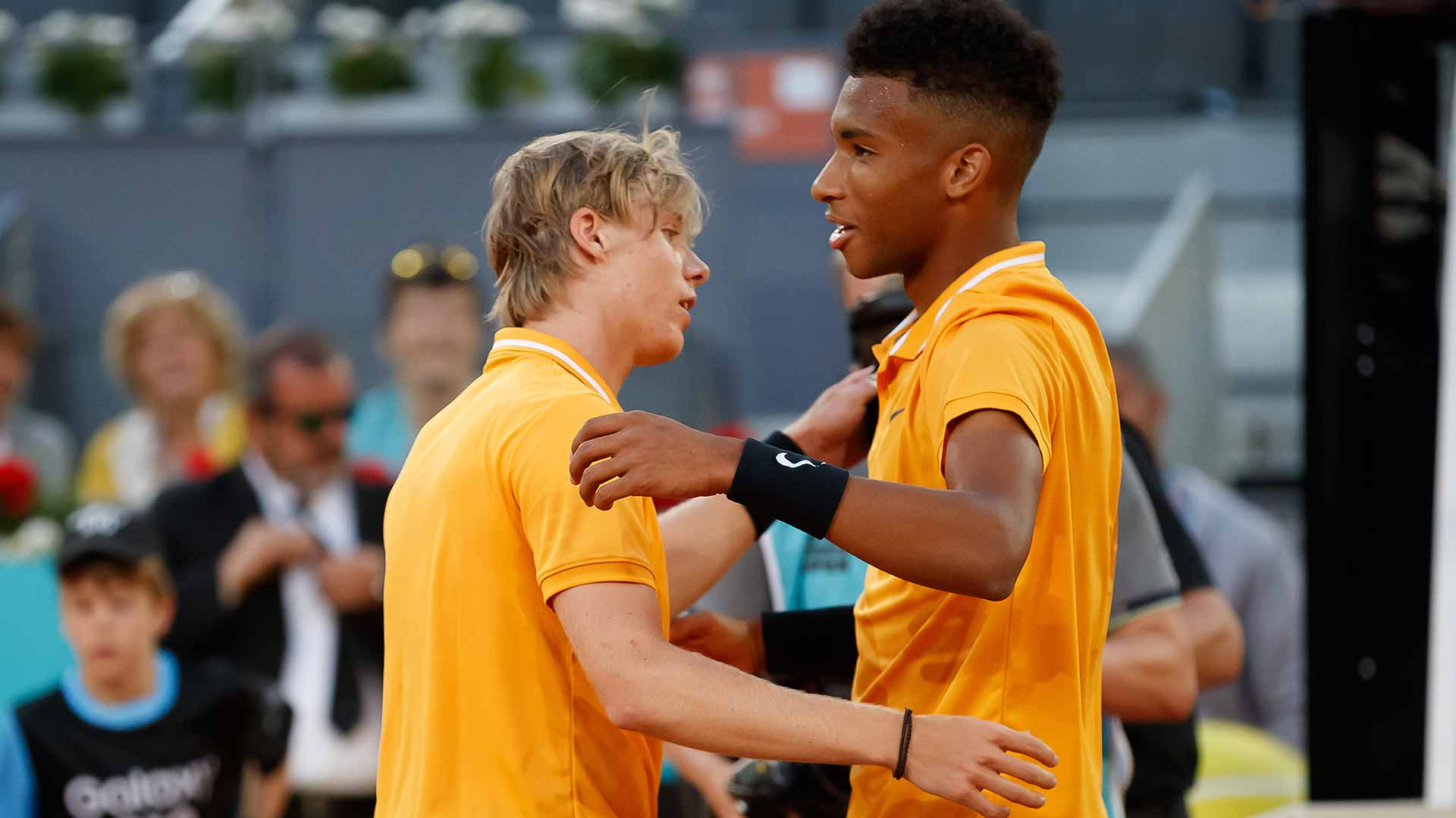Canadians <a href='https://www.atptour.com/en/players/denis-shapovalov/su55/overview'>Denis Shapovalov</a> and <a href='https://www.atptour.com/en/players/felix-auger-aliassime/ag37/overview'>Felix Auger-Aliassime</a> at the <a href='https://www.atptour.com/en/tournaments/madrid/1536/overview'>Mutua Madrid Open</a>