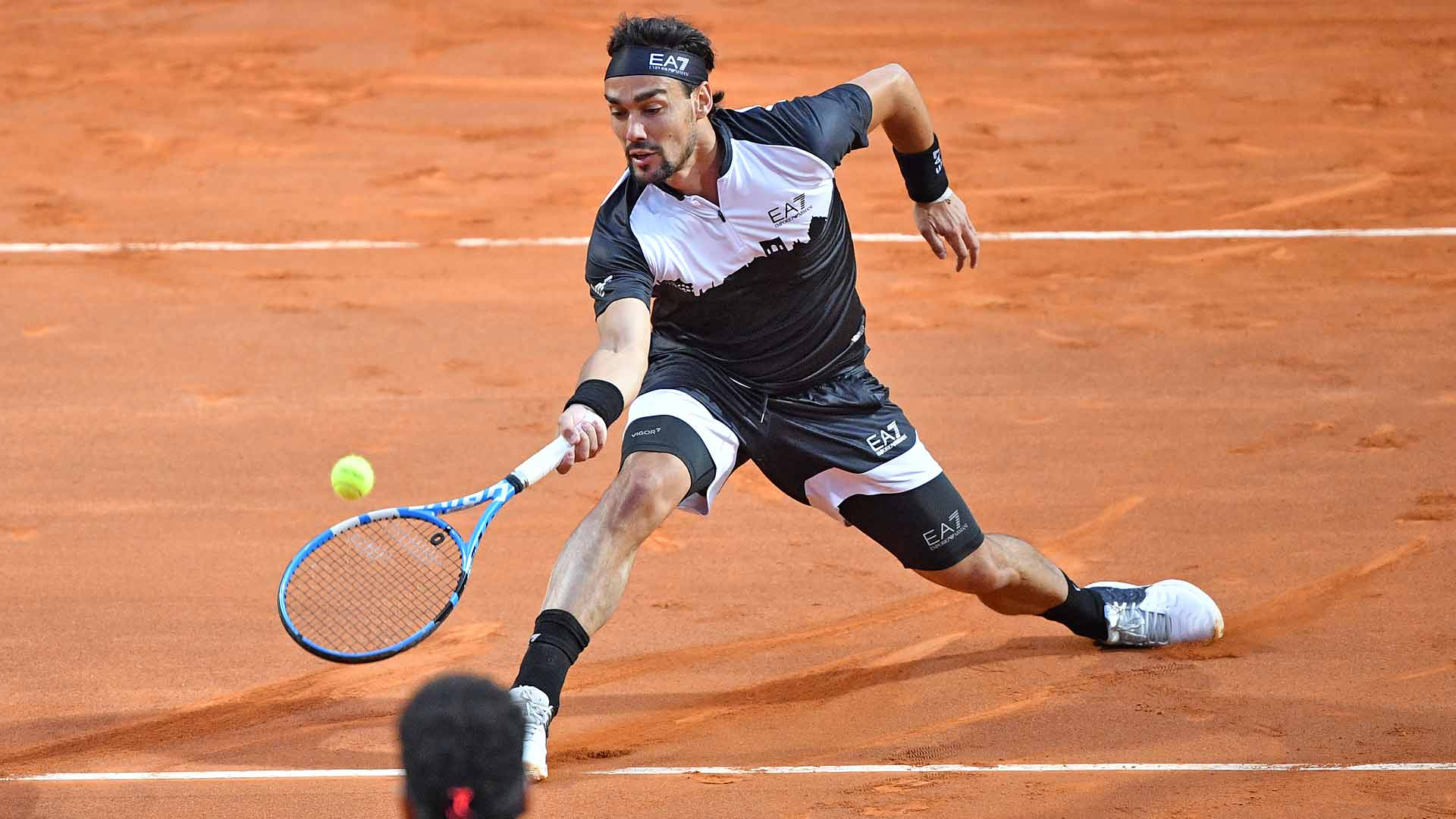 Fabio Fognini defeats Jo-Wilfried Tsonga in the first round of the Internazionali BNL d'Italia in Rome