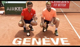 Mate Pavic and Oliver Marach lift their sixth tour-level doubles trophy as a team on Saturday at the Banque Eric Sturdza Geneva Open.