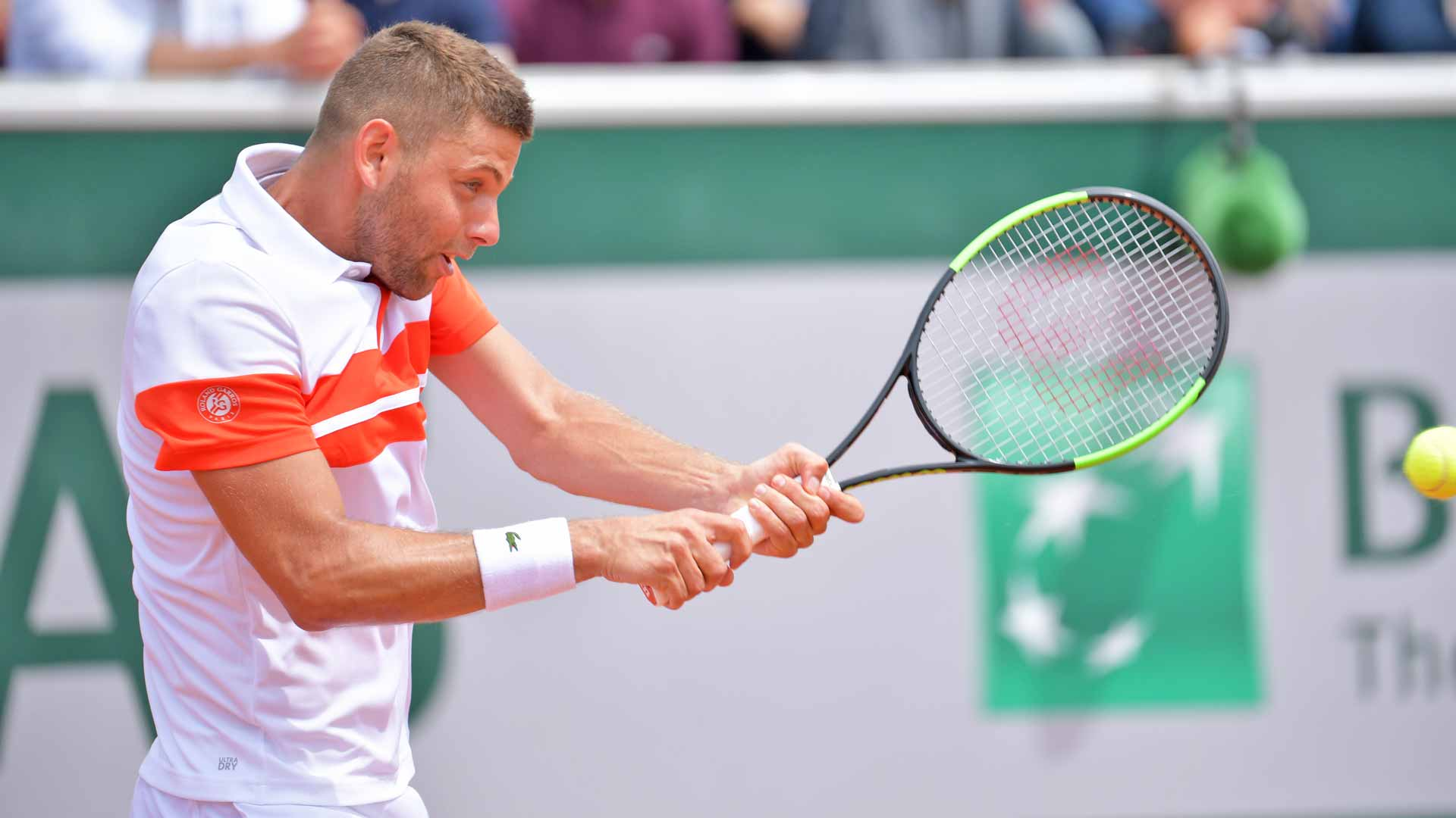 <a href='/en/players/filip-krajinovic/kb05/overview'>Filip Krajinovic</a> hits a backhand at <a href='/en/tournaments/roland-garros/520/overview'>Roland Garros</a>