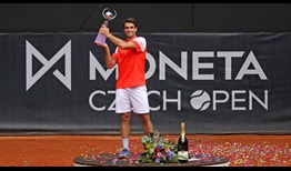Pablo Andujar lifts the trophy in Prostejov, claiming his 11th ATP Challenger Tour title.