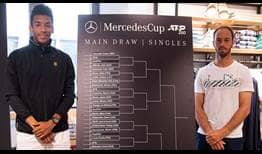 Felix Auger-Aliassime and Tim Puetz attend the 2019 MercedesCup draw ceremony.