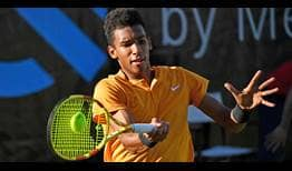 Seventh seed Felix Auger-Aliassime fires 15 aces past Gilles Simon on Thursday for a place in the Stuttgart quarter-finals.