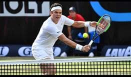 Milos Raonic loses just four first-serve points en route to beating Marton Fucsovics in Stuttgart.