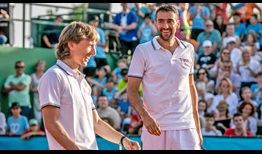 Footballer Luka Modric and Marin Cilic entertain the crowd at Cilic's charity event.