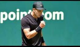 Defending NOVENTI OPEN champion Borna Coric saves the two break points he faces to reach the second round in Halle.