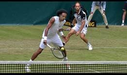 Dustin Brown, left, and Tim Puetz dismiss the reigning Roland Garros champions in straight sets on Tuesday in Halle.