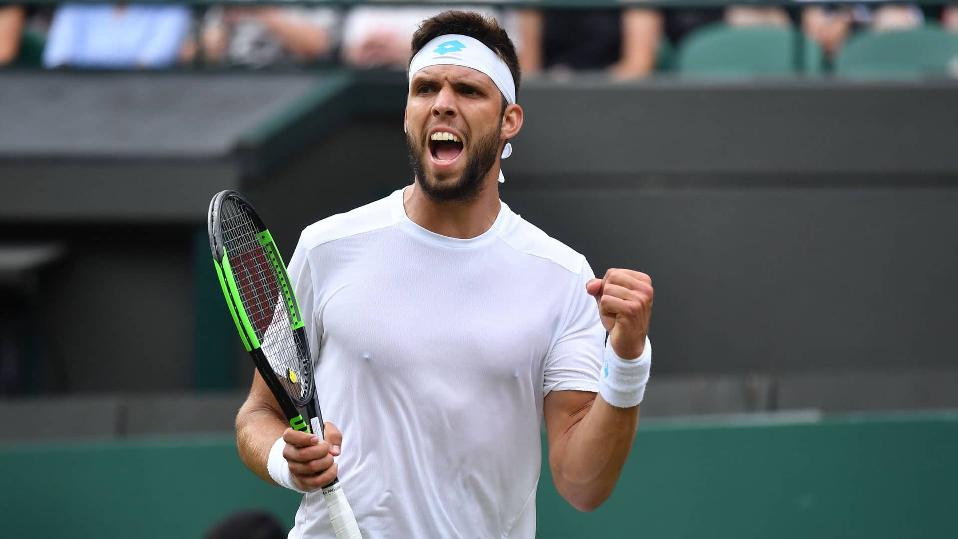 Jiri Vesely beats Alexander Zverev on Monday at Wimbledon