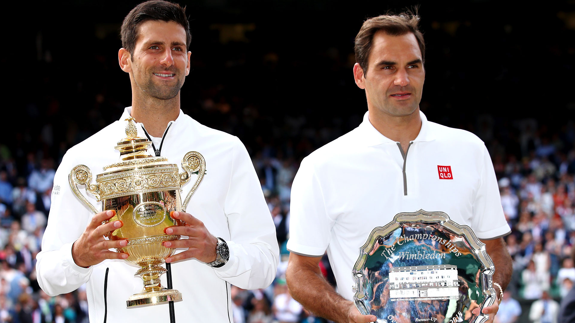 Djokovic, Federer, trophy ceremony