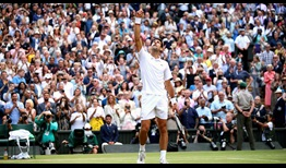 Novak Djokovic celebrates winning his fifth Wimbledon title on Sunday.