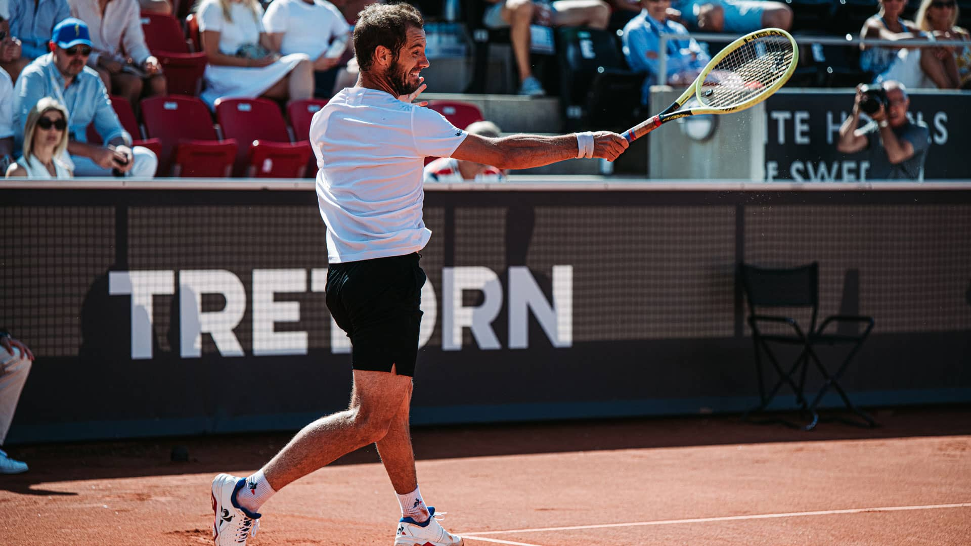 Richard Gasquet hits a forehand in 2019 Bastad