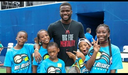Fifth seed Frances Tiafoe attends kids' day at the BB&T Atlanta Open.