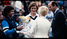 Paul McNamee and Peter McNamara receive the 1980 Wimbledon doubles trophies from The Duke and Duchess of Kent.