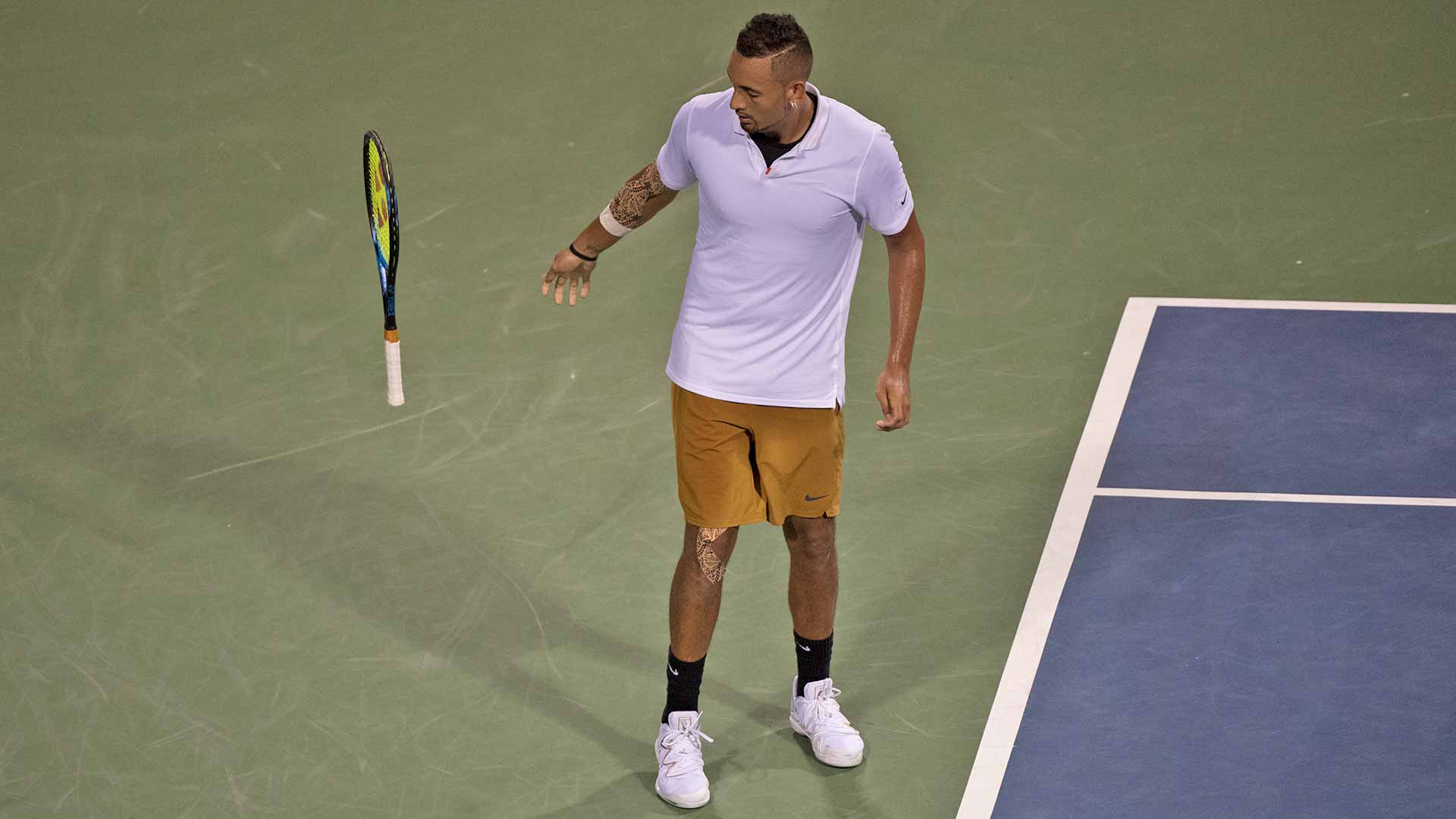 As of Saturday night, Nick Kyrgios had only one racquet to use for the Citi Open final in Washington, D.C.