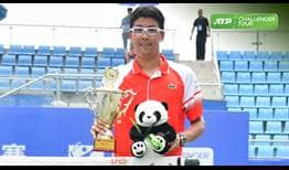 Hyeon Chung lifts the trophy in Chengdu, taking the title in his first tournament back from injury.