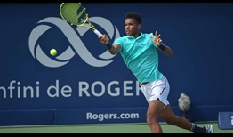 Felix Auger-Aliassime wins his opener on Tuesday at the Coupe Rogers in Montreal.