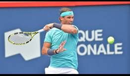 Rafael Nadal saved two set points in the opening set against Dan Evans.
